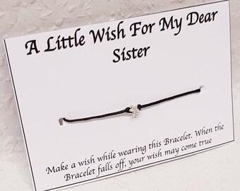 Sister Wish Bracelet, A little Wish for my Dear Sister Bracelet, Gift for Sister, Sister Bracelet, Gift for Her, Star Charm Wish Bracelet