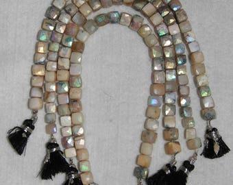 AB, AB Dendritic Opal, 7 mm, Faceted Cube Bead, Dendrite Opal Cube, Semi Precious, Natural Stone, Sparkle Bead, HALF Strand, AdrianasBeads