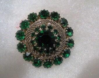 Vintage Weis Emerald Rhinestone Brooch
