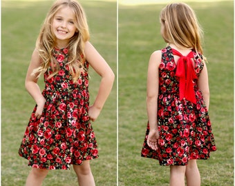 Red & Black Floral  Sleeve Less Dress - Infant, Toddler, Girls