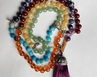 Chakra Mala 108 beads, Reiki, Prayer, Meditation 8mm beads