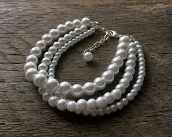 White Pearl Bracelet Multi Strand Bridal Bracelet on Silver or Gold Chain