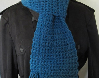 Blue Alpaca Wool Scarf, Man, Womans, 70 inch, Long, Woolen, Thick Yarn, Warm, Wrap, Spring, Crochet knit, Chunky, Fashion, Vintage Look