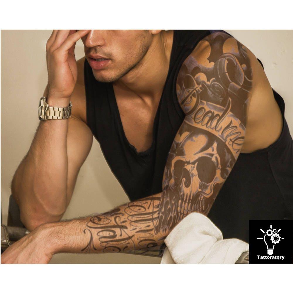 Men temporary tattoo sleeve men fake tattoo sleeve black arm for Fake tattoos sleeves