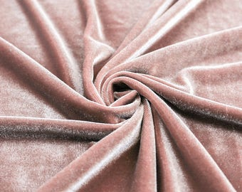 Princess OLD ROSE Polyester Stretch Velvet Fabric by the Yard, Half Yard, Sample - 10001