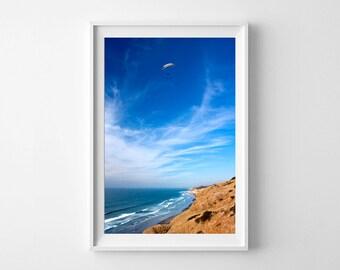 San Diego Art Torrey Pines Hang Glider Vertical Wall Decor - Blue Wall Art, California Beach Home Decor - Large Wall Art Prints Available