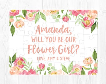 Flower Girl Proposal Gift Flower Girl Puzzle Will You Be My Flower Girl Proposal Card Flower Girl Proposal Puzzle Peach Pink Fun Green Cream