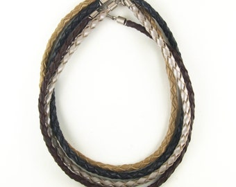 Braided leather choker necklaces 4 strand with steel coil caps and clasp