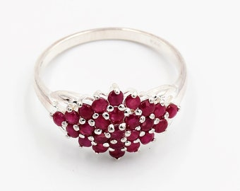 Sterling Silver red stone cluster ring