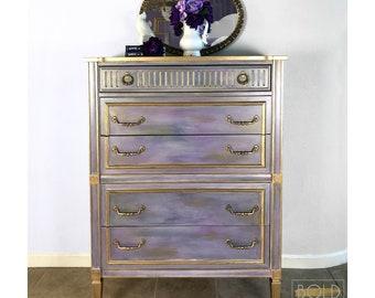 Vintage Tallboy Dresser, Iridiscent, Hand painted, Lavender, Purple, Gold, Blue, Gray, Crocus, solid wood, farmhouse chic, elegant