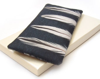 Clutch purse, zipper bag, iPhone pouch, feather and tree, OYSTERCATCHER
