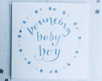 New baby boy card - bouncing baby boy card - new arrival card - new baby card - baby boy new arrival card - baby boy  - baby card
