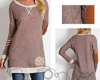 Monogrammed Mocha Tunic with Patched Elbows