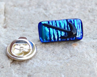 Dichroic Glass Tie Tack Stud or Lapel Pin Brooch Textured Layers Shimmering Shades of Blue with a Black Arrow Detail Silver Fitting Gift Box