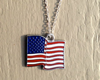 American Flag Necklace, United States flag, USA flag, USA jewelry, USA pendant, necklace, flag, flag necklace, silver necklace, silver