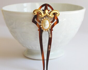 Art Nouveau Hair Comb,Tortoise Shell Comb, Small Bridal Comb, Deco hair comb, Gold Head Jewelry, Bride Hair Piece, Downton Abbey, Headpiece