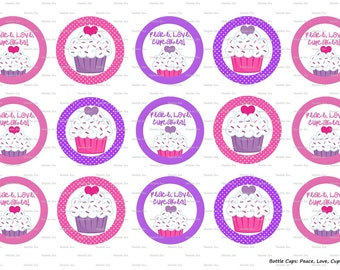 """15 Peace, Love, Cupcakes Digital Download for 1"""" Bottle Caps (4x6)"""