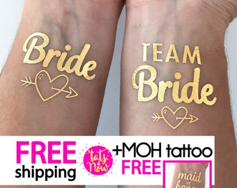 Team Bride tattoos for bachelorette party / gold temporary tattoo