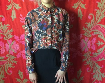 100% Silk Native American Inspired Button Down Shirt