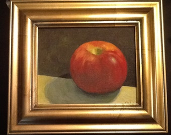 8x10 Oil painting of Red Apple