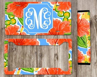 Monogram License Plate, Personalized License Plate, Lilly Monogram, Lilly Print, Front Car Tag, Car Plate, Car Accessories, Seat Belt Cover