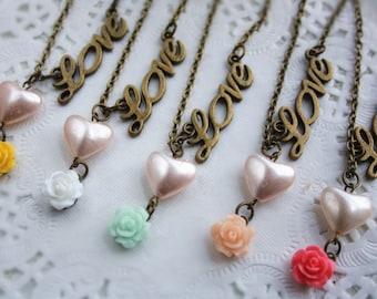 Bridesmaid gift: Loving heart cottage rose necklace love vintage flower charm pendant retro bronze jewellery accessory shabby chic wedding