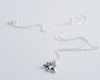 elephant necklace, delicate sterling silver chain and elephant charm necklace, elephants never forget, nature, africa, india, SERENITY