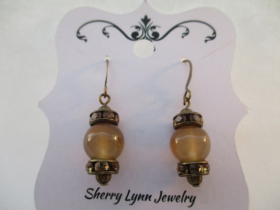 Brown Agate and Champagne Crystal Rondelle Earrings E9201710