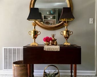vintage large brass lamps pair pineapples samovars glam hollywood regency
