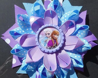 Frozen Elsa and Anna Loopy Bow