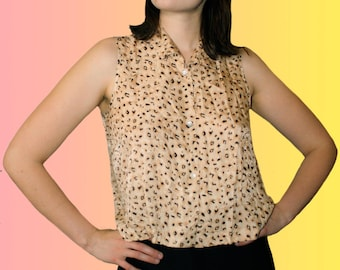 90s Cheetah Print and Paisley Silk Tank Top