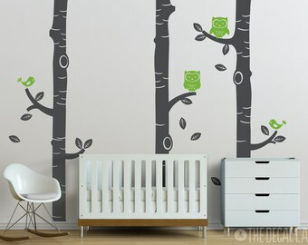 Birch Trees with Owls and Birds Wall Decal - WAL-2116