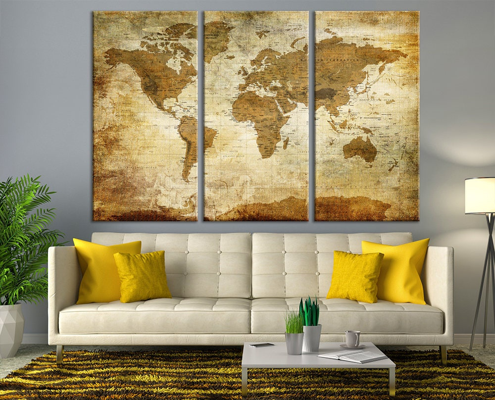 Antique World Map Large Wall Art, Push Pin Travel Map of World ...