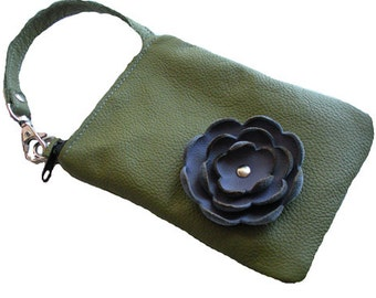 Leaf Green Leather Purple Flower Cell Phone Iphone Galaxy Sling Crossbody Camera Gadget Case Sleeve Zipper Pouch Small Purse