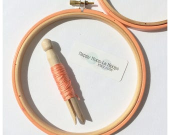 Peach Embroidery hoops. 3 - 7 inch Embroidery Hoop. Coloured Embroidery Hoop. Hand Embroidery Frame. Oval Embroidery Hoop