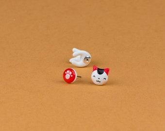 Maneki neko lucky cat jewelry polymer clay earring fake gauge plug tunell stud cute kawaii anime catlover gift maneki neko lucky cat jewelry