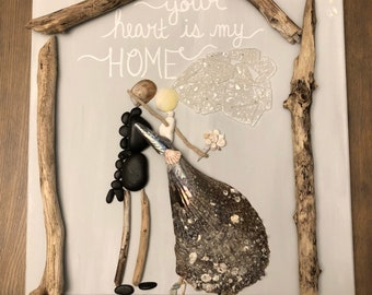Bride and Groom Seashell Canvas