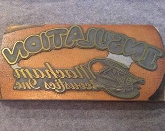Vintage Letterpress Printers Block Insulation Macham Acoustics Inc. Logo Lg Type