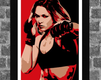 UFC Ronda Rousey MMA Portrait Sports Print Poster Art 11x17