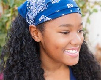 Ladies Bandana, Navy Blue Kerchief, Hippie Headscarves, Extra Wide Head Cover, Dark Blue Triangle Kerchief (#3019) S M L
