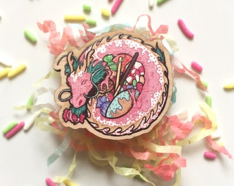Sweetie Dragon - Printed Wooden Pin