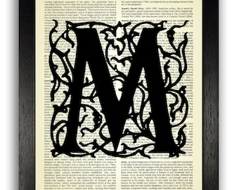 Letter M Typography Art Print, Block Letter Filigree Pattern, Personalised Initial Gift, Initials Artwork, Art Personalised Present for Her