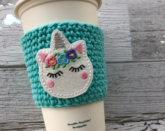 Unicorn Cup Cozy, Crochet Coffee Cozy, Coffee Sleeve, Drink Sleeve, Teacher Gift, Gift under 10, Party Favor, gift for her