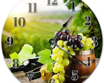 "10.5"" GRAPES and WINES Clock - Living Room Clock - Large 10.5"" Wall Clock - Home Décor Clock - 4029"