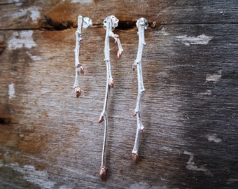 Twig Branch Earrings - Silver Branch With Rose-Gold Plated Buds - Nature Jewelry