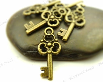 10 Key Charms Double Sided Antique Bronze Tone Metal - 22x10mm - Key Pendants - BA7