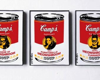 Catwoman 66 Meriwether Newmar Kitt Pop Art Soup, framed original art trio by Zteven