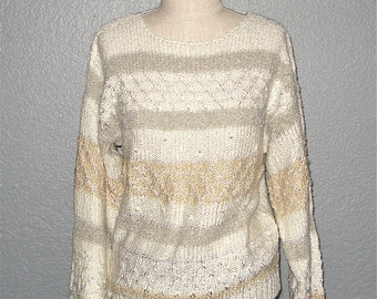 Vintage striped CREAMY PEARL embellished slouch sweater - M