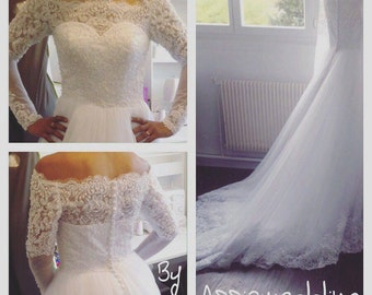Boat neck wedding dress long sleeves lace dress