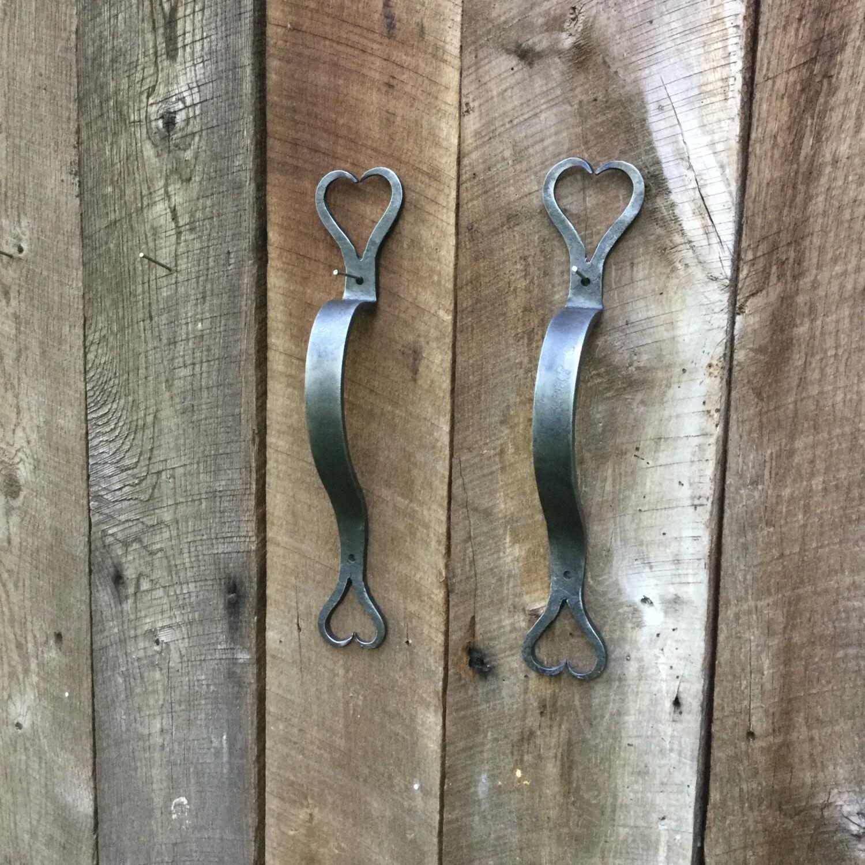 Door Pull, Hand Forged Barn Door Handle, Wrought Iron Hearts, Single Handle